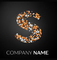 letter s logo gold-silver dots alphabet logotype vector image vector image