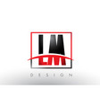 lm l m logo letters with red and black colors and vector image vector image