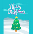 merry christmas pine tree on vector image vector image