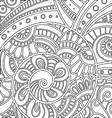 pattern with floral doodle elements vector image vector image