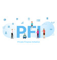 pfi private finance initiative concept with big vector image vector image