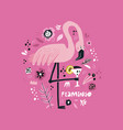 pink flamingo hand drawn poster vector image