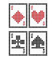 pixel playing cards vector image