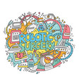 robotic surgery doodle concept vector image vector image