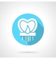 Round blue heart candlestick flat icon vector image
