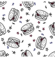 Seamless pattern with doodle burger vector image vector image