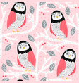 seamless pattern with owls on trees creative vector image vector image