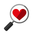 search heart flat shadow vector image vector image