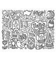 set doodle sketch drawing nice elements black vector image