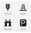 set of 4 editable navigation icons includes vector image vector image