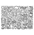 set of doodle sketch drawing nice elements black vector image