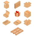 Set of isometric cardboard boxes and pallet vector image