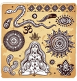 set ornamental indian elements and symbols vector image vector image