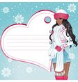 sexy african winter girl greeting card vector image