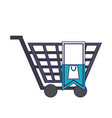 shopping cart with blank tag blue lines vector image vector image