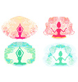 Silhouette of a Girl in Yoga pose - set vector image