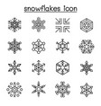 snowflakes icon set in thin line style vector image vector image
