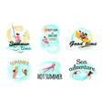 summer people seaside swimming windsurfing vector image