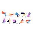 superhero characters active hero flying man vector image