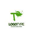 t logo with leaf element nature leaf logo designs vector image