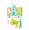 television advertisement tv set and megaphone vector image vector image