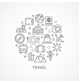 Travel with icons in linear style vector image vector image