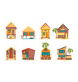 tropical houses bungalow beach buildings island vector image