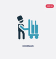 two color doorman icon from transportation vector image vector image