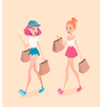 Two young hipster girls going down the street with vector image vector image