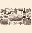 vineyard and wine set ice bucket corkscrew cork vector image