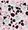 vintage black and pink roses and leaves on vector image vector image