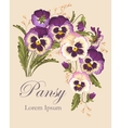 Vintage card with pansies vector image vector image