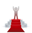winner on the podium hands on top vector image