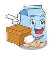 with box almond milk isolated in the mascot vector image