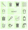 14 bucket icons vector image vector image