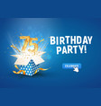 75 th years anniversary banner with open burst vector image vector image