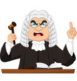 angry male judge holding gavel and pointing up vector image vector image