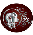 aries zodiac sign in circle frame vector image vector image