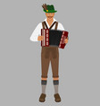 bavarian man in national costume with accordion vector image vector image