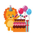 birthday lion cake and balloons gift vector image vector image