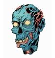 blue zombie head vector image vector image