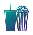 bucket pop corn and soda with straw vector image vector image