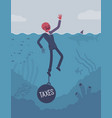 businessman drowning chained with a weight taxes vector image