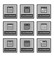 calendar icons and signs set in vector image vector image