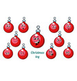 christmas ball emotions emoticons set isolated on vector image vector image