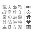 cleaning line icons laundry sponge and vacuum vector image vector image