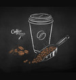 coffee paper cup with scoop with pile beans vector image