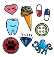 Colorful patches collection with cry heart ice vector image