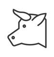 cow head farm animal line style editable stroke vector image vector image