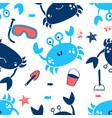 cute crab seamless pattern print design vector image